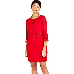 Wallis - Petite red lace trim dress