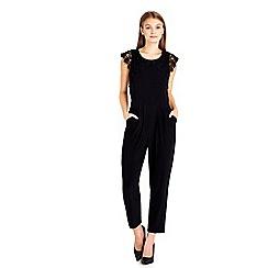 Wallis - Petite black crochet jumpsuit