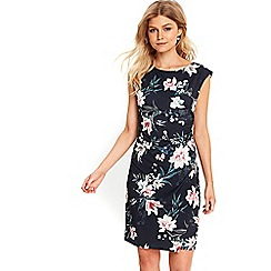 Wallis - Petite navy floral wrap dress