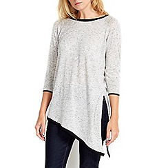 Wallis - Petite grey aysmmetric tipped top