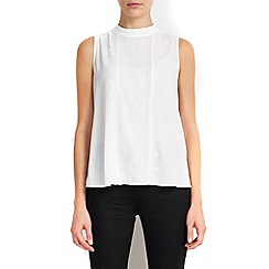 Wallis - Petite ivory lace panel shell top