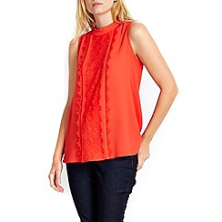 Wallis - Petite coral panel lace shell top