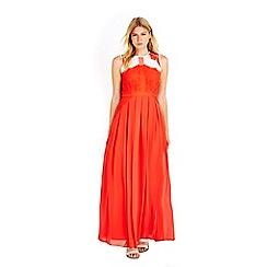 Wallis - Petite coral lace maxi dress