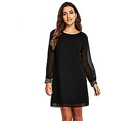 Wallis - Petite black embellished cuff dress