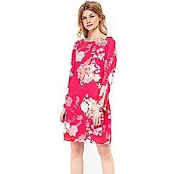 Wallis - Petite pink lily tie sleeve tunic dress