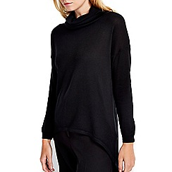 Wallis - Petite black cowl neck high low jumper