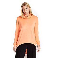Wallis - Petite orange cowl neck high low jumper
