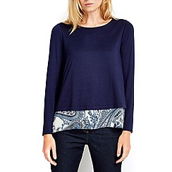 Wallis - Petite navy paisley split back 2in1 top
