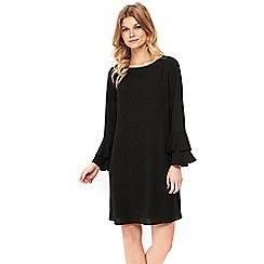 Wallis - Petite black double flute sleeve shift dress