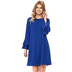 Wallis - Petite blue double flute sleeve dress