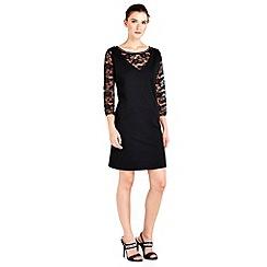 Wallis - Petite black lace pinny dress