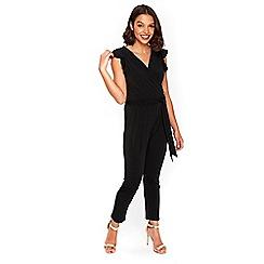 Wallis - Petite black frill jumpsuit