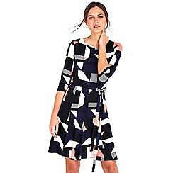 Wallis - Petite Navy Geometric Print Fit And Flare Dress