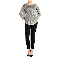 Wallis - Petite silver foil animal print jumper
