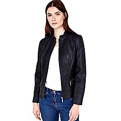 Wallis - Petite black zip biker jacket