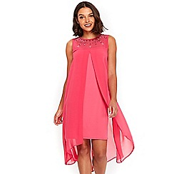 Wallis - Petite pink embellished split front dress