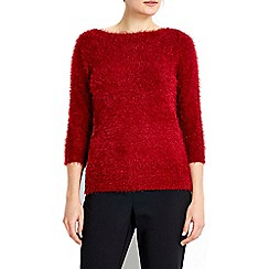 Wallis - Petite red bardot slash sweater