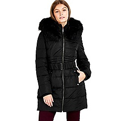 Wallis - Petite black padded coat