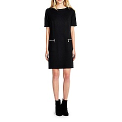 Wallis - Petite black ponte zip pocket dress