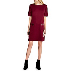 Wallis - Petite claret wine zip pocket dress