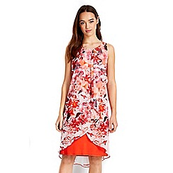 Wallis - Petite coral floral overlayer dress