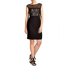 Wallis - Petite black mesh lace insert dress