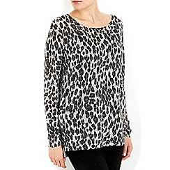 Wallis - Petite silver animal print jumper