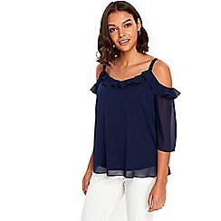 Wallis - Petite navy frill detail top