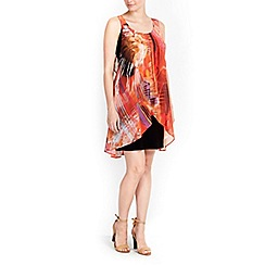 Wallis - Petite orange printed dress