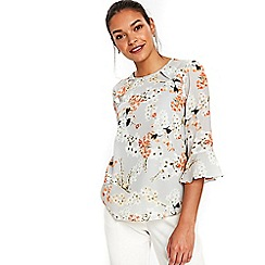 Wallis - Petite orange blossom frill top