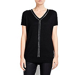 Wallis - Petite v neck embellished tunic top
