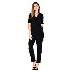Wallis - Petite  black shoulder jumpsuit