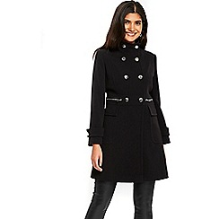 Wallis - Petite black funnel coat