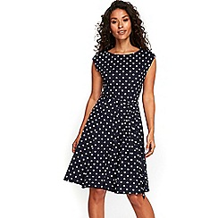 Wallis - Petite navy spot fit and flare dress