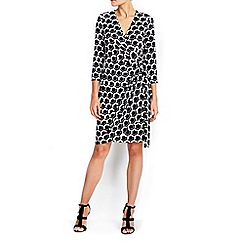Wallis - Petite mono geo printed wrap dress