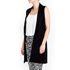 Wallis - Petite black sleeveless jacket