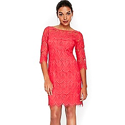 Wallis - Petite coral lace shift dress