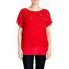 Wallis - Petite red embellished overlay top