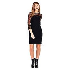 Wallis - Petite black spot lace dress