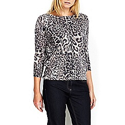 Wallis - Petite navy animal print jumper