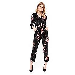 Wallis - Petite black floral print jumpsuit