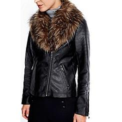 Wallis - Petite black glam fur collar jacket