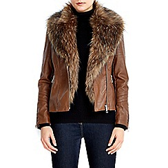 Wallis - Petite tan glam fur biker jacket