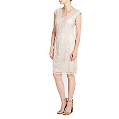 Wallis - Petite oyster v neck lace dress