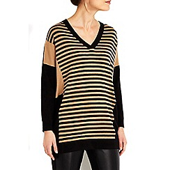 Wallis - Petite striped panel v-neck jumper
