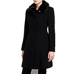Wallis - Petite black fur collar swing coat