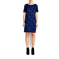Wallis - Petite blue floral jacquard dress