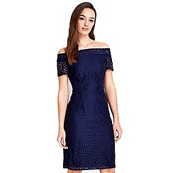 Wallis - Petite navy lace bardot dress