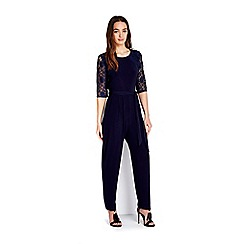 Wallis - Petite navy lace sleeve jumpsuit