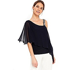 Wallis - Petite navy embellished strap top